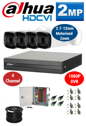 2MP Custom Dahua HDCVI Package - 1080P 4Ch DVR, 4x 60m IR Motorised Zoom Bullet Cameras