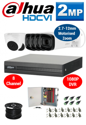 2MP Custom Dahua HDCVI Package - 1080P 8Ch DVR, 4x 60m IR Motorised Zoom Bullet Cameras and Dome Cameras