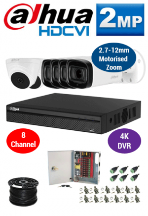 2MP Custom Dahua HDCVI Package - 1080P 8Ch 4K DVR, 4x 60m IR Motorised Zoom Bullet Cameras and Dome Cameras