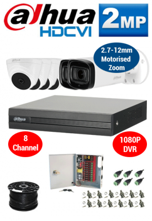 2MP Custom Dahua HDCVI Package - 1080P 8Ch DVR, 2x 60m IR Motorised Zoom Bullet Cameras and Dome Cameras