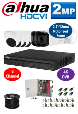 2MP Custom Dahua HDCVI Package - 1080P 8Ch 4K DVR, 2x 60m IR Motorised Zoom Bullet Cameras and Dome Cameras