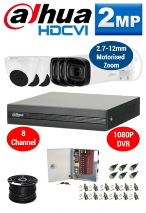 2MP Custom Dahua HDCVI Package - 1080P 8Ch DVR, 3x 60m IR Motorised Zoom Bullet Cameras and Dome Cameras