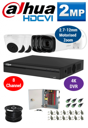 2MP Custom Dahua HDCVI Package - 1080P 8Ch 4K DVR, 3x 60m IR Motorised Zoom Bullet Cameras and Dome Cameras