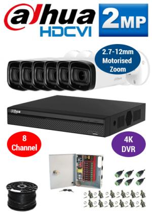 2MP Custom Dahua HDCVI Package - 1080P 8Ch 4K DVR, 6x 60m IR Motorised Zoom Bullet Cameras