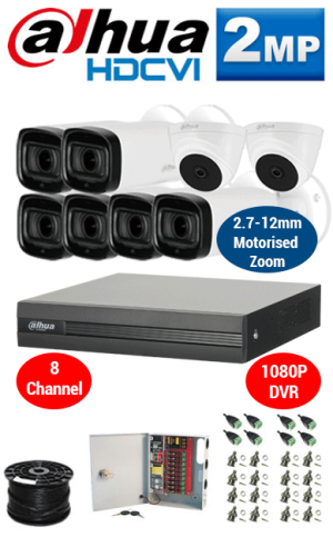 2MP Custom Dahua HDCVI Package - 1080P 8Ch DVR, 6x 60m IR Motorised Zoom Bullet Camera and Dome Cameras