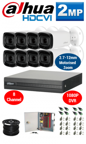 2MP Custom Dahua HD Package - 1080P 8Ch DVR, 8x 60m IR Motorised Zoom Bullet Cameras