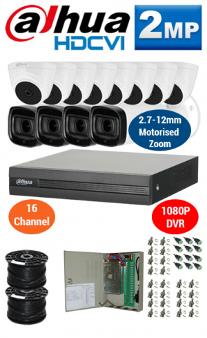 2MP Custom DAHUA Turbo HD Package - 1080P 16Ch DVR, 4x 60m IR Motorised Zoom Bullet Cameras and Dome Cameras