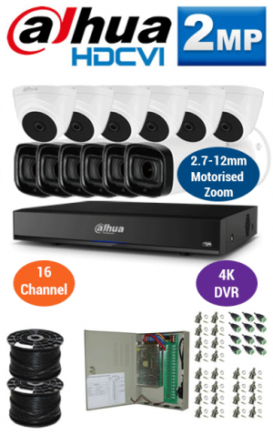 2MP Custom DAHUA Turbo HD Package - 4K 16Ch DVR, 6x 60m IR Motorised Zoom Bullet Cameras and Dome Cameras