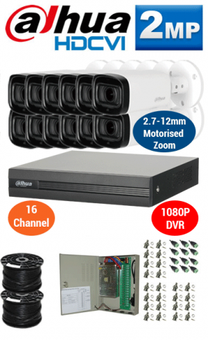 2MP Custom DAHUA Turbo HD Package - 1080P 16Ch DVR, 12x 60m IR Motorised Zoom Bullet Cameras