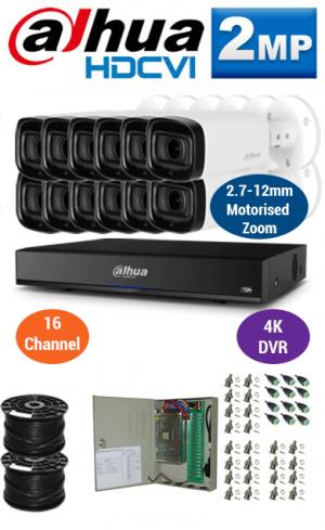 2MP Custom DAHUA Turbo HD Package - 4K 16Ch DVR, 12x 60m IR Motorised Zoom Bullet Cameras