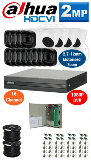 2MP Custom DAHUA Turbo HD Package - 1080P 16Ch DVR, 12x 60m IR Motorised Zoom Bullet Cameras and Dome Cameras