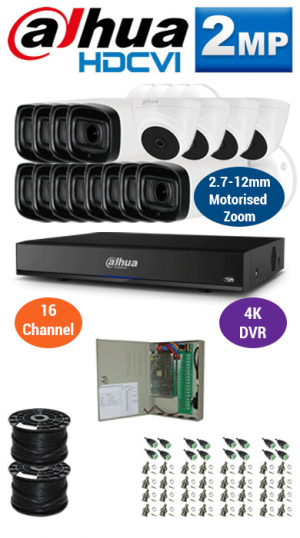 2MP Custom DAHUA Turbo HD Package - 4K 16Ch DVR, 12x 60m IR Motorised Zoom Bullet Cameras and Dome Cameras
