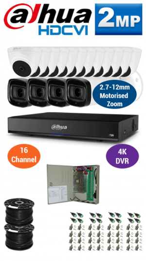 2MP Custom DAHUA Turbo HD Package - 4K 16Ch DVR, 4x 60m IR Motorised Zoom Bullet Cameras and Dome Cameras
