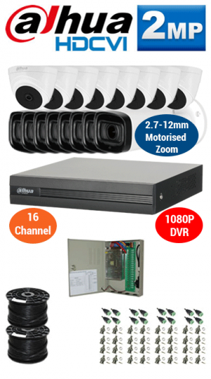 2MP Custom DAHUA Turbo HD Package - 1080P 16Ch DVR, 8x 60m IR Motorised Zoom Bullet Cameras and Dome Cameras