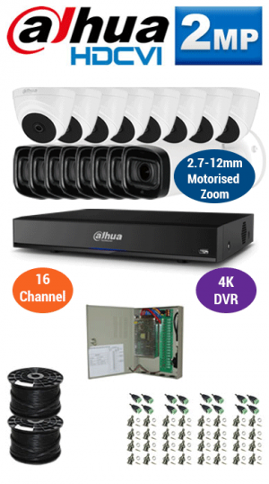 2MP Custom DAHUA Turbo HD Package - 4K 16Ch DVR, 8x 60m IR Motorised Zoom Bullet Cameras and Dome Cameras