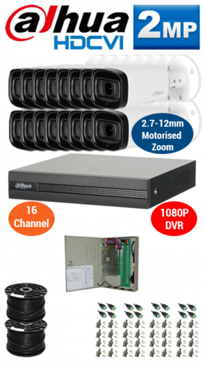 2MP Custom DAHUA Turbo HD Package - 1080P 16Ch DVR, 16x 60m IR Motorised Zoom Bullet Cameras