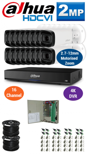 2MP Custom DAHUA Turbo HD Package - 4K 16Ch DVR, 16x 60m IR Motorised Zoom Bullet Cameras