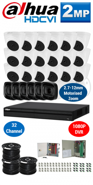 2MP Custom DAHUA Turbo HD Package - 1080P 32Ch DVR, 6x 60m IR Motorised Zoom Bullet Cameras and Dome Cameras