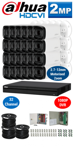 2MP Custom DAHUA HDCVI Package - 2MP 32Ch DVR, 24x 60m IR Motorised Zoom Bullet Cameras