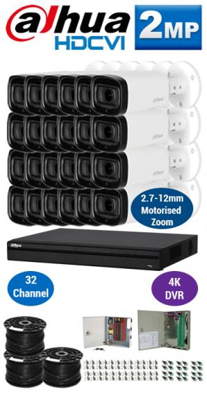 2MP Custom DAHUA HDCVI Package - 4K 32Ch DVR, 24x 60m IR Motorised Zoom Bullet Cameras