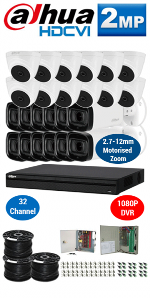 2MP Custom DAHUA HDCVI Package - 2MP 32Ch DVR, 12x 60m IR Motorised Zoom Bullet Cameras and Dome Cameras