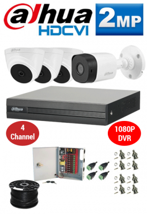 2MP Custom Dahua HDCVI Package - 1080P 4Ch DVR, 4 Bullet & Dome Cameras