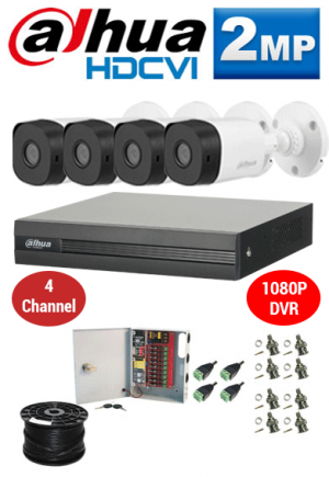 2MP Custom Dahua HDCVI Package - 1080P 4Ch DVR, 4 Bullet Cameras