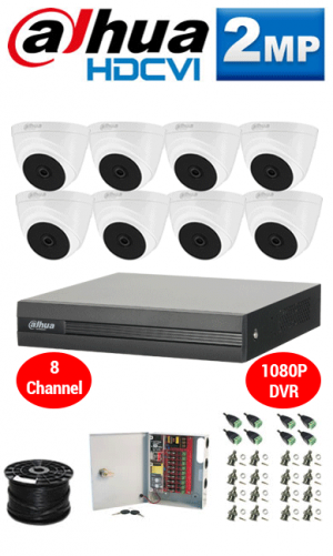 2MP Custom DAHUA HDCVI Turbo HD Package - 1080P 8Ch DVR, 8 Dome Cameras
