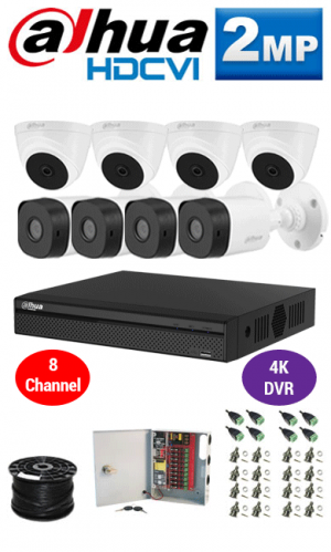 2MP Custom Dahua HDCVI Package - 1080P 8Ch 4K DVR, 8 Bullet & Dome Cameras