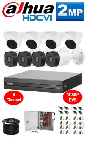 2MP Custom Dahua HDCVI Package - 1080P 8Ch DVR, 8 Bullet & Dome Cameras