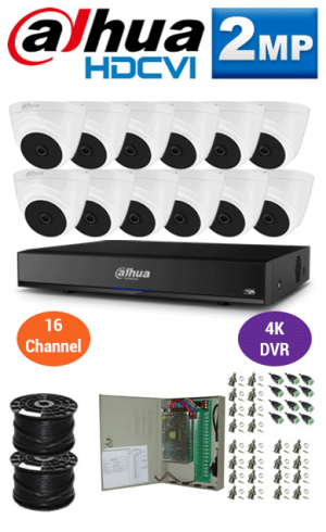 2MP Custom DAHUA Turbo HD Package - 4K 16Ch DVR, 12 Dome Cameras