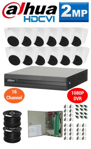 2MP Custom DAHUA Turbo HD Package - 1080P 16Ch DVR, 12 Dome Cameras