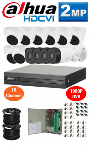 2MP Custom DAHUA Turbo HD Package - 1080P 16Ch DVR, 12 Bullet & Dome Cameras