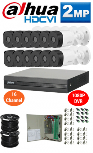 2MP Custom DAHUA Turbo HD Package - 1080P 16Ch DVR, 12 Bullet Cameras