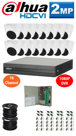 2MP Custom DAHUA Turbo HD Package - 1080P 16Ch DVR, 16 Dome Cameras