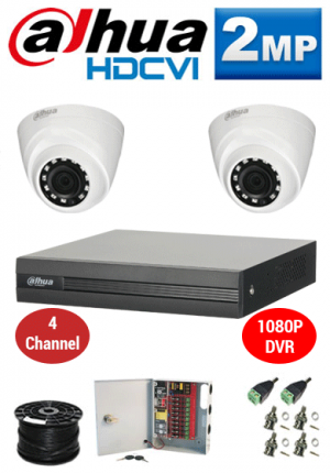 2MP Custom Dahua HDCVI Package - 1080P 4Ch DVR, 2 Dome Cameras