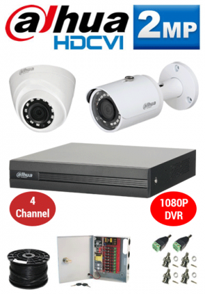 2MP Custom Dahua HDCVI Package - 1080P 4Ch DVR, 2 Bullet & Dome Cameras