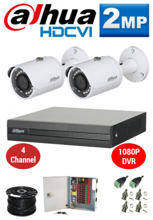 2MP Custom Dahua HDCVI Package - 1080P 4Ch DVR, 2 Bullet Cameras