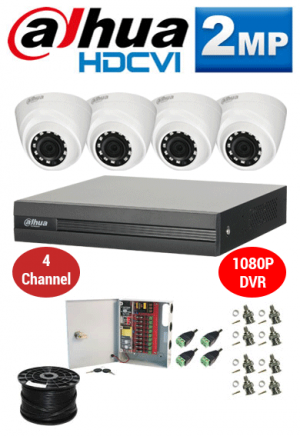 2MP Custom Dahua HDCVI Package - 1080P 4Ch DVR, 4 Dome Cameras