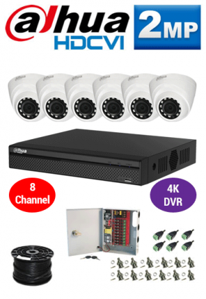 2MP Custom Dahua HDCVI Package - 1080P 8Ch 4K DVR, 6 Dome Cameras