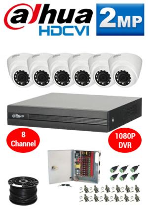 2MP Custom Dahua HDCVI Package - 1080P 8Ch DVR, 6 Dome Cameras