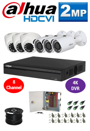 2MP Custom Dahua HDCVI Package - 1080P 8Ch 4K DVR, 6 Dome and Bullet Cameras