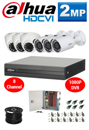 2MP Custom Dahua HDCVI Package - 1080P 8Ch DVR, 6 Dome and Bullet Cameras