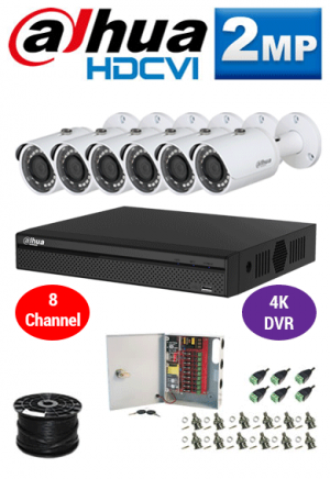 2MP Custom Dahua HDCVI Package - 1080P 8Ch 4K DVR, 6 Bullet Cameras