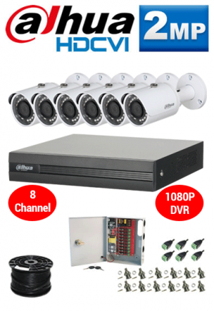 2MP Custom Dahua HDCVI Package - 1080P 8Ch DVR, 6 Bullet Cameras