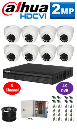 2MP Custom Dahua HDCVI Package - 1080P 8Ch 4K DVR, 8 Dome Cameras