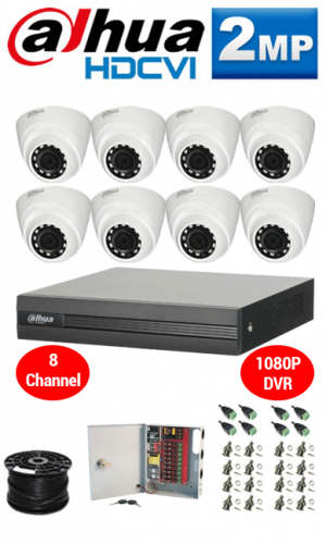 2MP Custom Dahua HDCVI Package - 1080P 8Ch DVR, 8 Dome Cameras