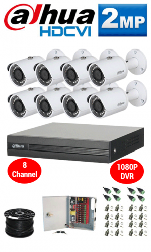 2MP Custom Dahua HD Package - 1080P 8Ch DVR, 8 Bullet Cameras