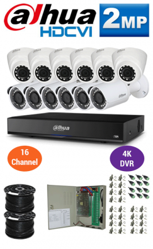 2MP Custom DAHUA Turbo HD Package - 4K 16Ch DVR, 12 Bullet & Dome Cameras
