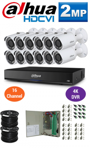 2MP Custom DAHUA Turbo HD Package - 4K 16Ch DVR, 12 Bullet Cameras